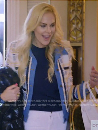 Kameron's tweed and denim layered jacket on The Real Housewives of Dallas