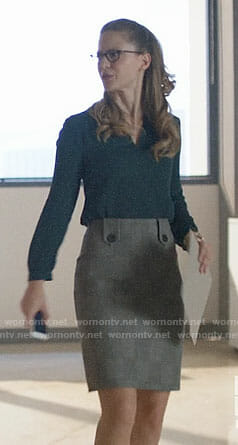 Kara's grey checked skirt on Supergirl