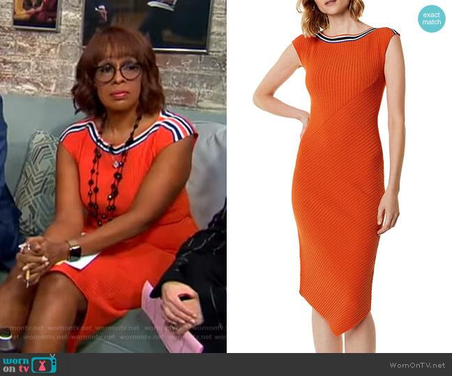 Asymmetric Rib-Knit Midi Dress by Karen Millen worn by Gayle King  on CBS This Morning