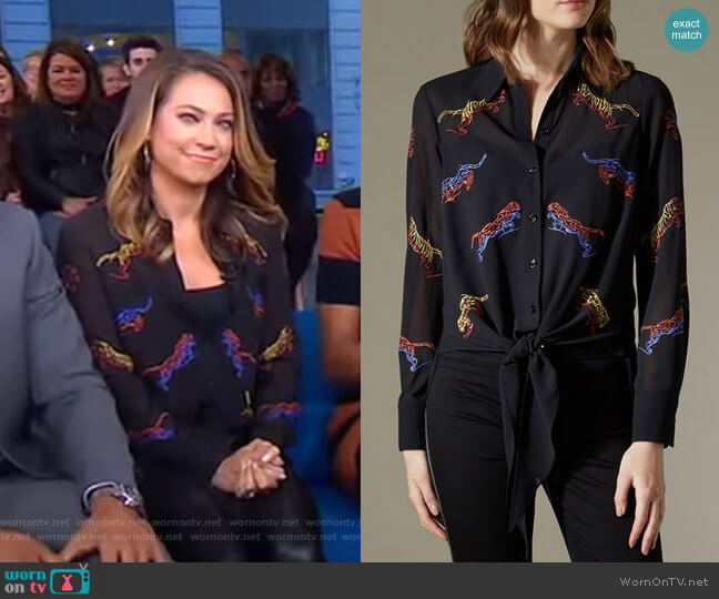 Embroidered Tiger Blouse by Karen Millen worn by Ginger Zee on Good Morning America