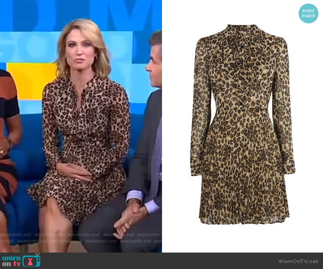 Leopard Print Mini Dress by Karen Millen worn by Amy Robach  on Good Morning America