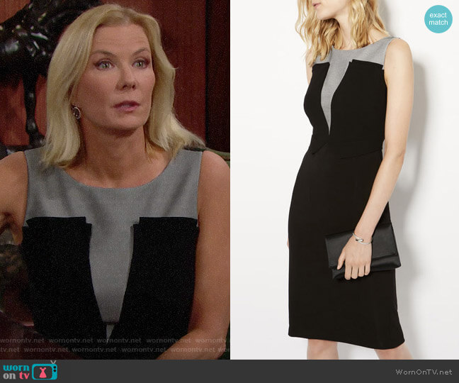 Karen Millen Plunge Contrast Pencil Dress worn by Katherine Kelly Lang on The Bold & the Beautiful
