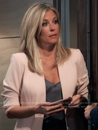 Carly's blush pink blazer on General Hospital
