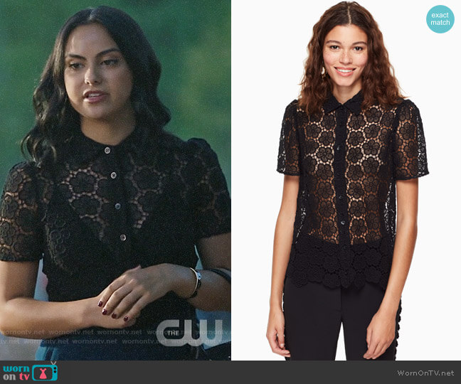 Kate Spade Bloom Flower Lace Top worn by Camila Mendes on Riverdale