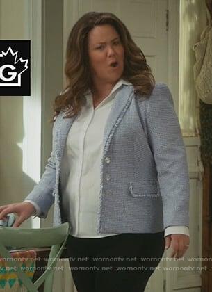 Katie's blue tweed blazer on American Housewife