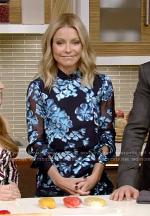 Kelly's blue floral sheer dress on Live with Kelly and Ryan