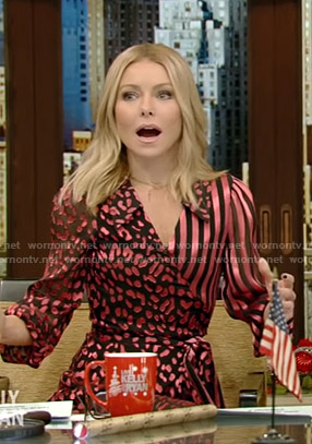 Kelly's pink striped and leopard print dress on Live with Kelly and Ryan