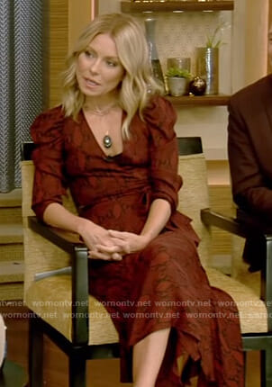 Kelly's red snake print wrap dress on Live with Kelly and Ryan