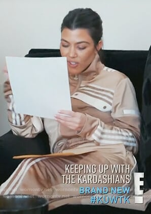 Kourtney's beige Adidas track jacket and pants on Keeping Up with the Kardashians