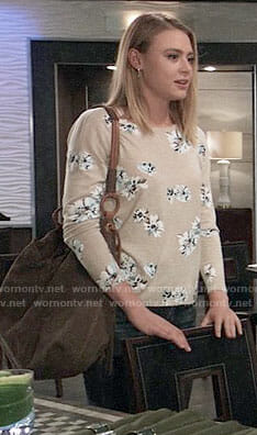 Kiki's beige floral sweater on General Hospital