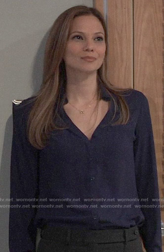 Kim's navy button down blouse on General Hospital