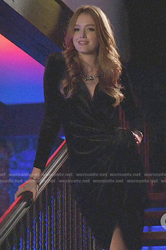 Kirby's black velvet wrap dress on Dynasty
