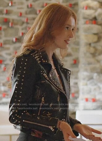 Kirby's floral studded leather jacket on Dynasty