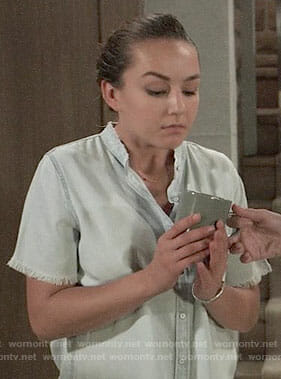 Kristina's frayed chambray shirt on General Hospital