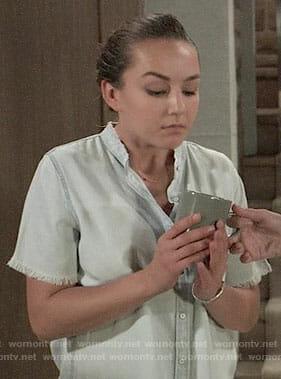 Kristina's frayed chambray shirt on General Hospital