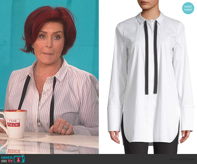 Annaleise Striped Blouse by Lafayette 148 New York worn by Sharon Osbourne (Sharon Osbourne) on The Talk
