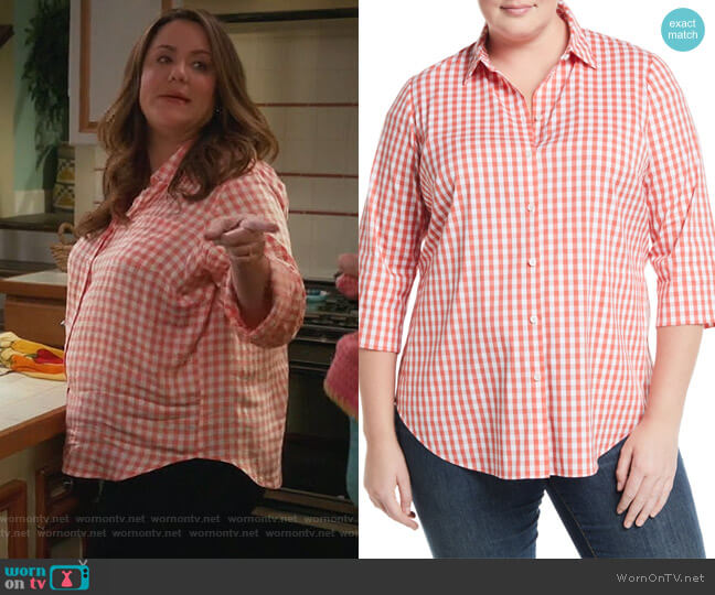 3/4-Sleeve Button-Front Gingham Top by Lafayette 148 New York worn by Katy Mixon on American Housewife