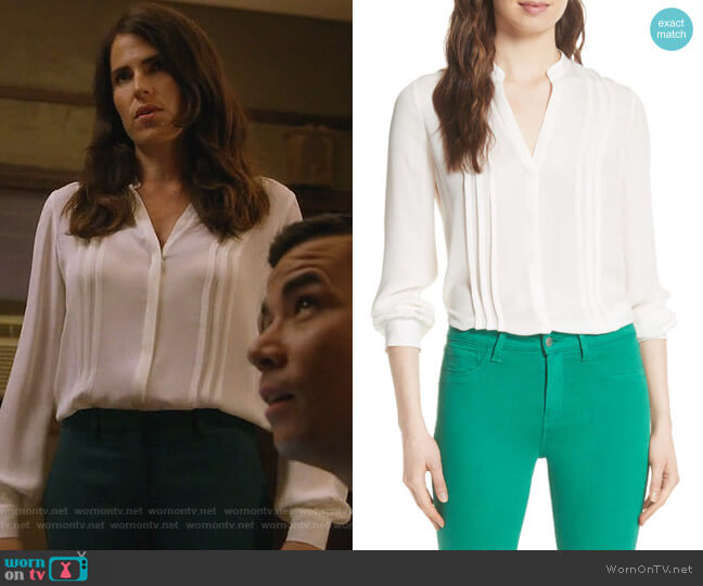 Amalea Pintuck Silk Blouse by L'Agence worn by Karla Souza on HTGAWM