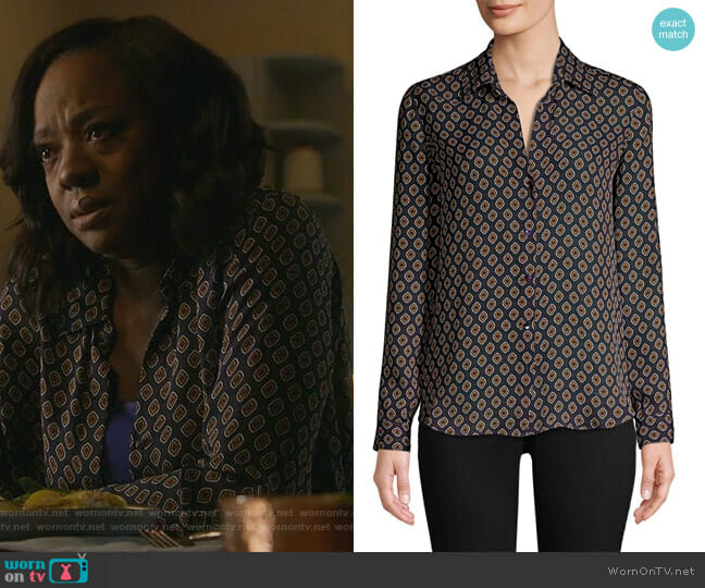 Nina Button-Front Blouse by L'Agence worn by Viola Davis on HTGAWM