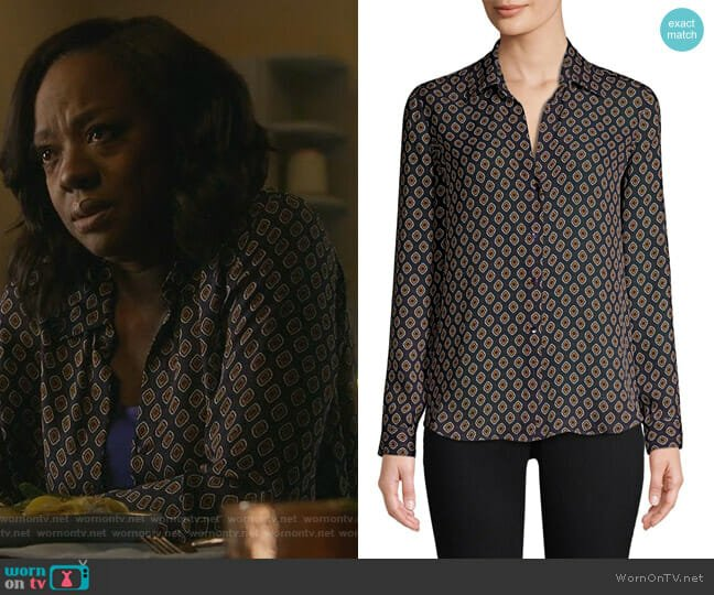 Nina Button-Front Blouse by L'Agence worn by Annalise Keating (Viola Davis) on HTGAWM