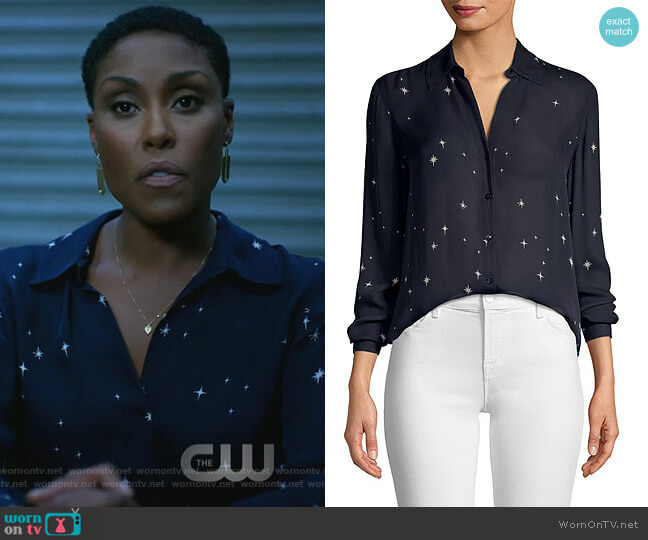 Nina Star-Print Silk Blouse by L'Agence worn by Christine Adams on Black Lightning