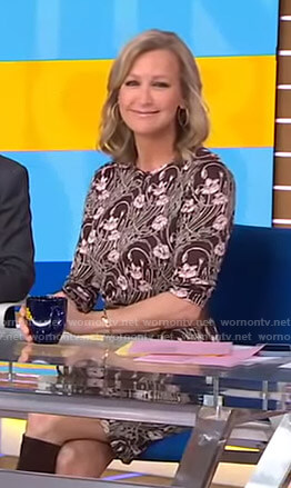 Lara's brown floral print dress on Good Morning America