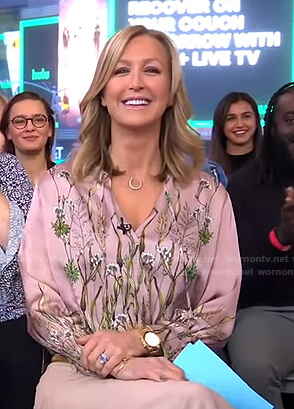 Lara's pink floral blouse on Good Morning America