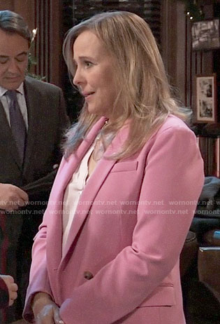 Laura's pink double breasted blazer on General Hospital