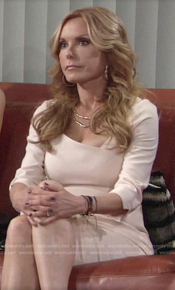Lauren's cream sheath dress on The Young and the Restless