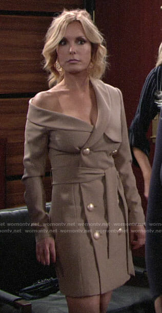 Lauren's off-shoulder trench dress on The Young and the Restless