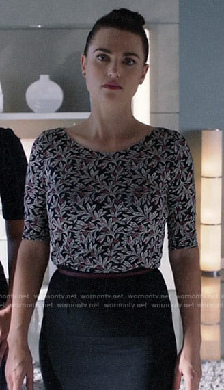 Lena's floral top on Supergirl