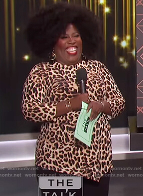Sheryl's leopard print asymmetric top on The Talk