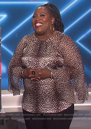 Sheryl's leopard print bell sleeve top on The Talk