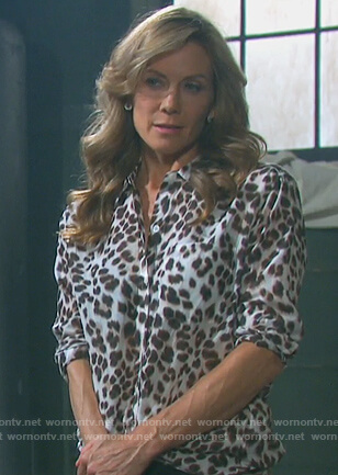 Kristen's leopard print blouse on Days of Our Lives