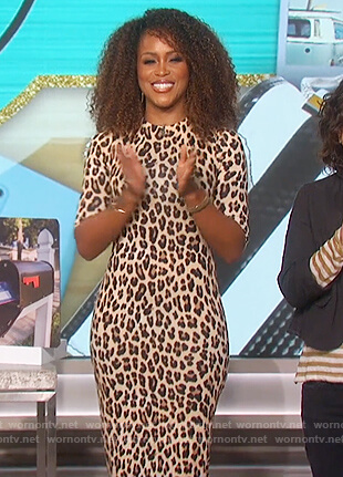 Eve's leopard print mock neck dress on The Talk
