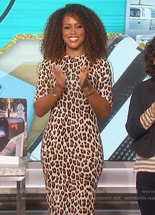 Eve's leopard print mock neck dress on The Talk