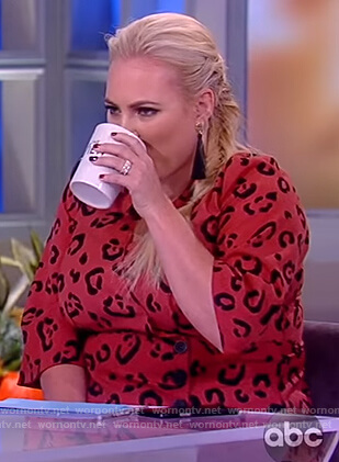 Meghan's red leopard print wrap top on The View