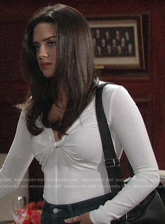 Lola's white twist front top on The Young and the Restless