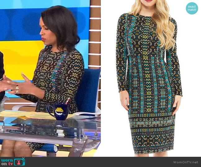 Long-Sleeve Global-Tile Sheath Dress by Maggy London worn by Adrienne Bankert (Adrienne Bankert) on Good Morning America