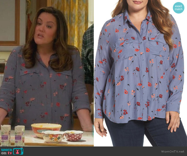 Floral Button Down Blouse by Lucky Brand worn by Katy Mixon on American Housewife
