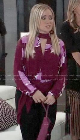 Lulu's red and pink floral top on General Hospital