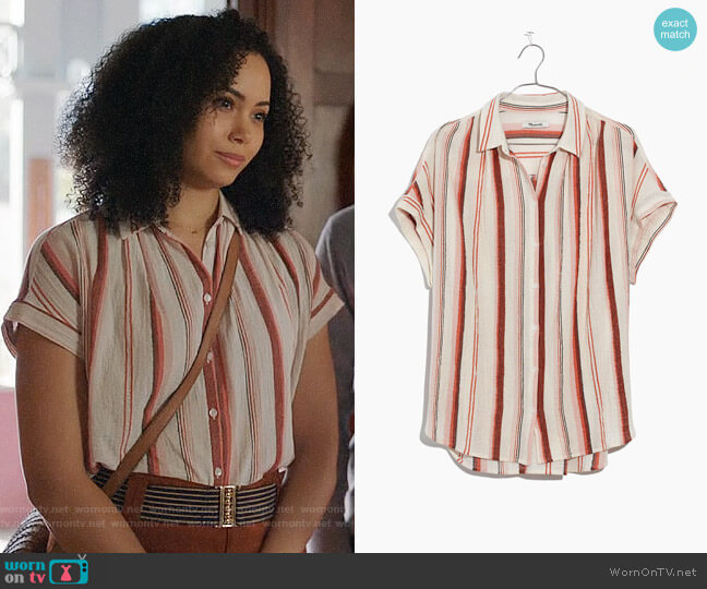 Madewell Central Shirt in Albee Stripe worn by Macy Vaughn (Madeleine Mantock) on Charmed