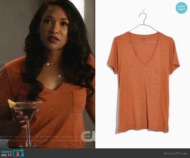 Madewell Whisper Cotton V-neck Tee worn by Candice Patton on The Flash