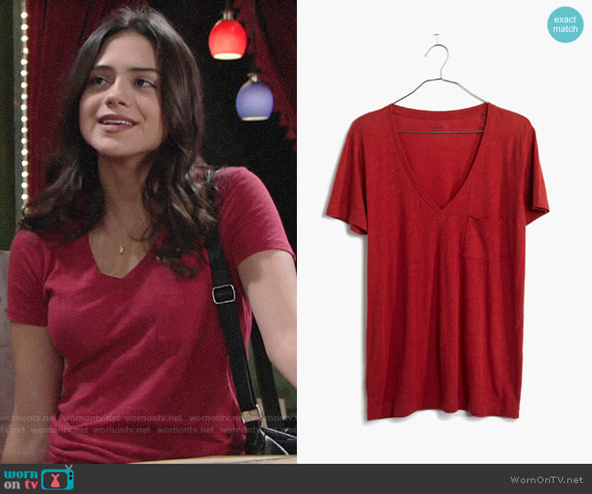 Madewell Whisper Cotton V-neck Tee worn by Lola Rosales (Sasha Calle) on The Young & the Restless