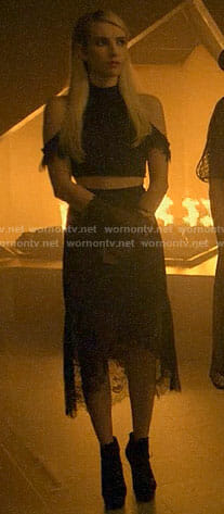 Madison's black lace cold-shoulder crop top and skirt on American Horror Story Apocalypse