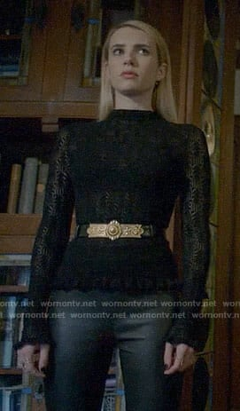 Madison's black pointelle top on American Horror Story Apocalypse