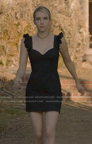 ab6fc98e9d3 Madison s black ruffle shoulder mini dress on American Horror Story  Apocalypse