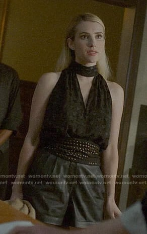 Madison's black star print top and leather shorts on American Horror Story Apocalypse