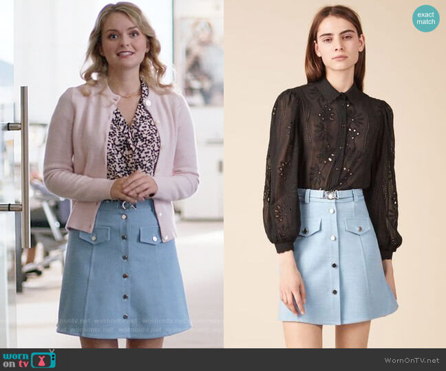 Maje Jamela Skirt worn by Eve Teschmacher (Andrea Brooks) on Supergirl