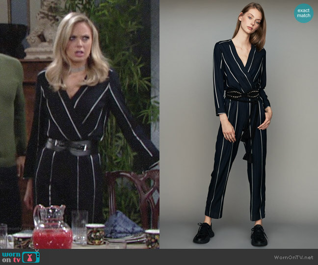 Maje Panti Striped Jumpsuit worn by Melissa Ordway on The Young & the Restless